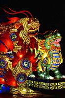 France, Tarn, Gaillac, Festival des lanternes (Chinese Lantern Festival), Qilin, mythical animals half dragon, half lion, made of 60 000 small medicin...