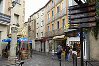 Place du Forum. Narbonne. Pedestrian shopping street in old city central Narbonne. South of France. The ancient town of Narbonne has a number of inter...