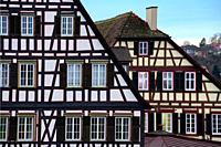 Traditional half-timbered houses at Marktplatz, historic part of Schwäbisch Hall, Schwäbisch Hall, Baden-Württemberg, Germany, Europe