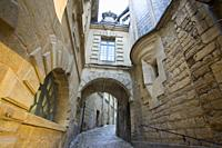 Sarlat la Caneda a beautiful medieval town and one of the highlights to a visit to the Dordogne Perigord France on December 7, 2018.
