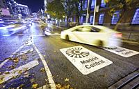 Madrid Central low-emissions zone sign at Plaza de las Cortes street. The antipollution measure introduces new restrictions on traffic in the heart of...