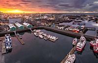 Aerial - Reykjavik Harbor, Reykjavik, Iceland.
