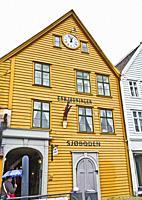 Restaurant in Bryggen, the wharf district, of Bergen, Norway. Enhjorningen or Unicorn restaurant upstairs.