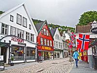 A comercial side street in Bergen,Norway.