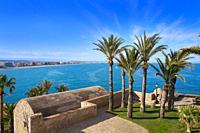 Peniscola aerial beach village in Castellon of Mediterranean Spain.
