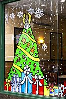 Painted Holiday Decorations on a NYC Restaurant Window.