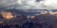 Rain and Snow showers move across the Grand Canyon at Grand Canyon National Park, Arizona.