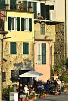 Italy, Liguria, Cinque Terre National Park, World Heritage Site, Corniglia, Dining at sunset.