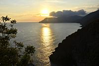Italy, Liguria, Cinque Terre National Park, World Heritage Site, The sunset from Corniglia.