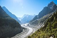 """The Mer de Glace (""""""""Sea of Ice"""""""") is a valley glacier located on the northern slopes of the Mont Blanc massif, in the French Alps. It is 7. 5 km long ..."""
