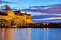 The Akershus Fortress at the first light of dawn. Oslo. Norway.