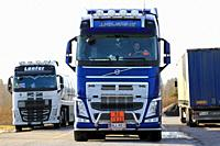 Forssa, Finland - March 12, 2017: Blue Volvo FH of JJ Kuljetus Oy truck driver is ready to leave truck stop for ADR transport on a day of spring.