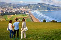 Guide with tourists, Tour, Zarautz, Basque Country, Spain, Europe