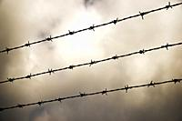 Barbed wire fence view in Spain.