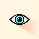 Blue human eye icon with shade. Vector illustration