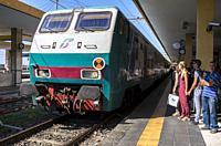 Train, Centrale Railway Station, Catania, Sicily, Italy.