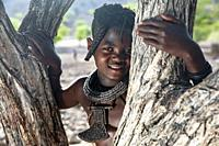 Portrait of a young Himba girl - Damaraland, Namibia, Africa.