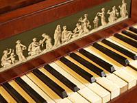 Poland. Kozlowka Palace of the Zamojski noble family. Piano. Detail