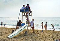 Beach and lifeguards. Bidart. Nouvelle-Aquitaine region. Pyrénées-Atlantiques department, France. Europe.