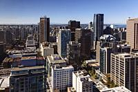 High shot of business district in downtown Vancouver, Canada.