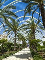 The Umbracle, open-air garden part of the City of Arts and Sciences complex, Valencia, Spain, Europe.