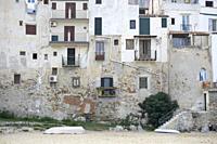 Cefalu old port Sicily village on the sea Italy.