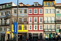 Porto, Portugal, Europe - A view of traditional residential buildings in the Clerigos district of Porto's old city.