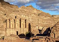 The Monastery, Ad-Deir, elevated view, Petra, Ma'an Governorate, Jordan.