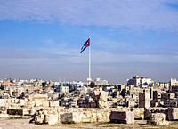 Cityscape with Raghadan Flagpole seen from Citadel Hill, Amman, Amman Governorate, Jordan.