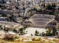 Roman Theater and The Hashemite Plaza, elevated view, Amman, Amman Governorate, Jordan.