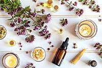 Bottles of essential oil with fresh blooming oregano twigs, frankincense resin and other herbs.