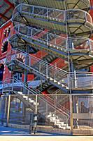emergency staircase, shopping center Arenas, Barcelona, Catalonia, Spain
