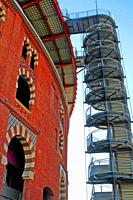 emergency staircase, Arenas shopping center, old bullring, Barcelona, Catalonia, Spain