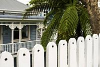 Fence around an older home in the Ponsonby area of Auckland, New Zealand.