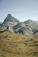 Ossau valley from the border between spain and france, the big mountain is th Pic du midi d`ossau, a well known mountain for climbers on the pyrenees.