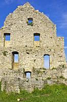 Gable side of a dilapidated medieval castle ruin, Hohenurach Castle, Swabian Alb, Germany.