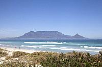 View of Table Mountain over Table Bay from Bloubergstrand, Cape Town - South Africa.