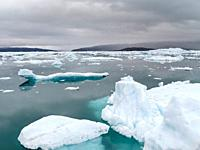 Icebergs in the Disko Bay, Greenland, Denmark, August.