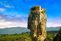 Picture & image of Katskhi Pillar Georgian Orthodox church on a 40 m (130 ft) natural limestone rock pillar near Chiatura, Imereti Region, Georgia (co...
