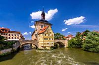 Germany, Bavaria, Upper Franconia, Franconian Switzerland, Bamberg (town), Old Town (UNESCO world heritage), left Regnitzarm (river) and Old City Hall...