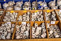 Germany, Bavaria, Upper Bavaria, Munich, district Au, Mariahilfplatz, Auer Dult, market stall, beer steins