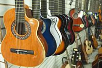 Acoustic and classic guitars for sale in the shop at the historic center, Quito, Ecuador, South America