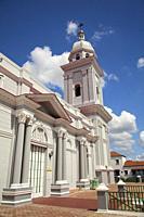 View to the Cathedral-Santa Basilica Metropolitana Iglesia Catedral near Parque Cespedes at the historic center, Santiago de Cuba, Cuba, West Indies, ...