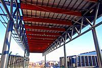 structure of metal pillars and wooden ceiling of the shopping center Finestrelles, Esplugues de Llobregat, Catalonia, Spain