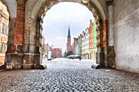 Town Hall of Gdansk in Long Market street, view from the Green Gate.