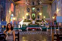Interior of the church of Baclayon. Baclayon. Bohol. Altar in a church in Tagbilaran, Bohol, Philippines.
