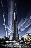 Futuristic image of the Burj Khalifa tower, the tallest building in the world, at Dubai United Arab Emirates.