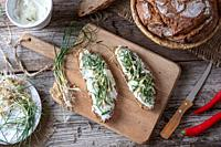 Sourdough bread with cottage cheese and wild edible plant allium vineale, or crow garlic.
