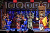 Chengdu, China - December 11, 2018: Actors performing in a Sichuan opera in Chengdu called Shu Feng Ya Yun.