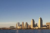 Panoramic view of downtown San Diego from Coronado Island. San Diego, California, USA.
